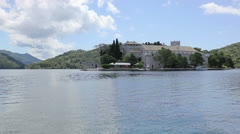 Small island on the lake in the national park Mljet, Croatia Stock Footage