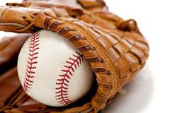 baseball glove or mitt and ball - stock photo