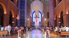 Inside Basilica of Aparecida do Norte Stock Footage