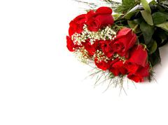 Boquet or red roses on white Stock Photos