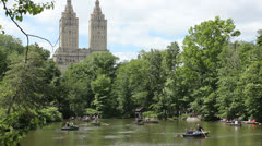 Row boats in Central Park - stock footage
