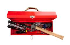 Red metal toolbox with tools Stock Photos