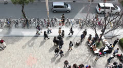 Overhead view of people on sidewalk in the busy Shinsaibashi shopping district Stock Footage