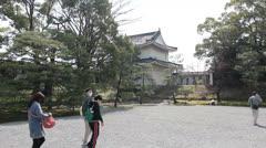 Tourists visit Tofuku-ji samurai residence in Kyoto, Japan. Stock Footage