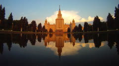 Morning Moscow State University fountain time lapse Stock Footage