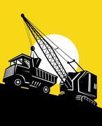 boom crane loading mining dump truck - stock illustration