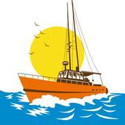 Kalastusvene merellä Piirros