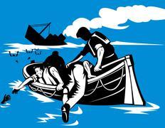 passenger ship sinking survivors in life raft - stock illustration