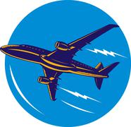 commercial jet plane airliner - stock illustration