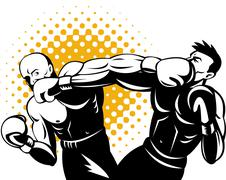 Boxer connecting knockout punch Stock Illustration