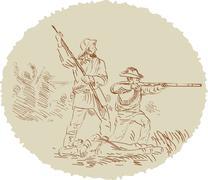 american civil war confederate soldier fighting - stock illustration