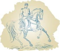 American civil war union officer on horseback Stock Illustration