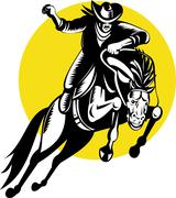 Rodeo cowboy ratsastaa katkonnan bronco Piirros