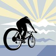 cyclist riding bicycle with mountain - stock illustration