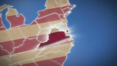 Stock Video Footage of USA map, Virginia pull out, all states available. Blue background