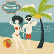 Retro couple on the beach Stock Illustration