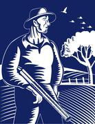 Stock Illustration of farmer hunter with shotgun rifle