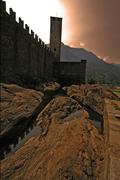the rock of bellinzona switzerlan - stock photo