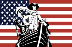 american revolution soldier general flag - stock illustration