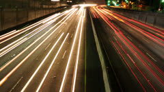 Time Lapse of Traffic in Los Angeles at Night - 4K Stock Footage