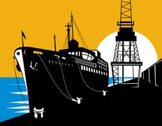 Passenger cargo ship docking Stock Illustration
