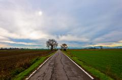 Straight rural road in Po Valley Stock Photos