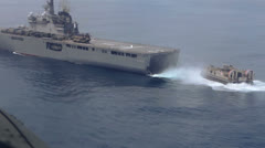 Japanese Hovercraft Leaving Carrier 01 Stock Footage