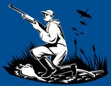 Stock Illustration of hunter aiming shotgun rifle at duck