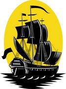 galleon sailing ship at sea - stock illustration