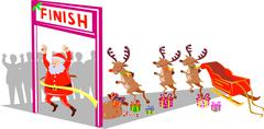 santa claus finishing race with reindeers - stock illustration