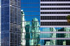 miami architectural contrasts - stock photo