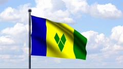 Animated Flag of St. Vincent and the Grenadines Stock Footage