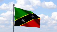 Animated Flag of St. Kitts and Nevis Stock Footage