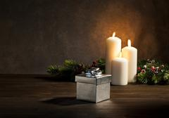 candles present in christmas setting - stock photo