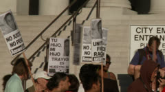 """No Justice No Peace"" Signs - stock footage"