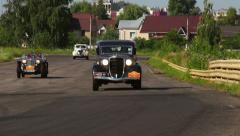 Classic old film-looking vintage cars Dodge DR Special, MG TC, Chevrolet Coupe Stock Footage