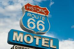 Historic route 66 motel sign in california Stock Photos