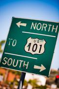 green us 101 south highway sign - stock photo