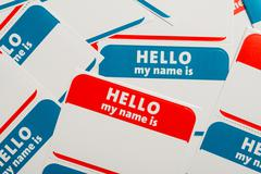 Stack of name tags or badges Stock Photos