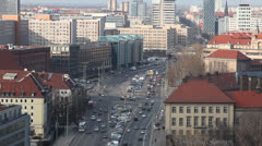 Berlin Cityscape, Wide shot of Traffic in Mitte close to Alexanderplatz Stock Footage