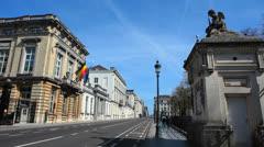 Brussels, Belgium - Rue de La Loi and Palais de La Nation Stock Footage