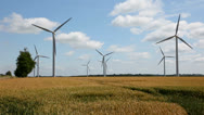 Stock Video Footage of Farm land and wind turbines