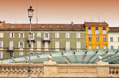 urban contrasts in Parma, Italy - stock photo
