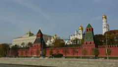 Moscow Kremlin in motion. The view from the ship on the Moscow river 1 Stock Footage