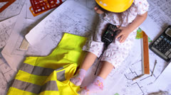 Child Constructor Architect Construction Man Stock Footage