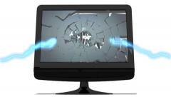 Standard PC monitor screen explodes outwards Stock Footage