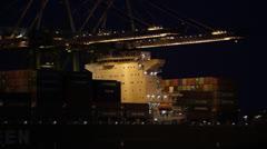Cargo Port Night Operations Stock Footage