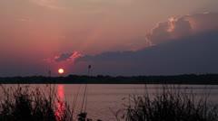 White Rock Lake, Dallas Time-lapse sunrise w-storm building - stock footage