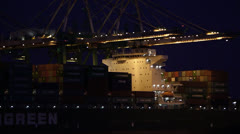 Cargo Port Night Operations Stock Footage