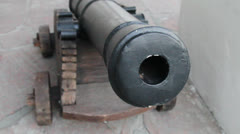 The ancient tool of artillery with integration on a barrel Stock Footage